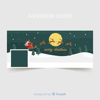 Copertina di facebook di natale con slitta volante