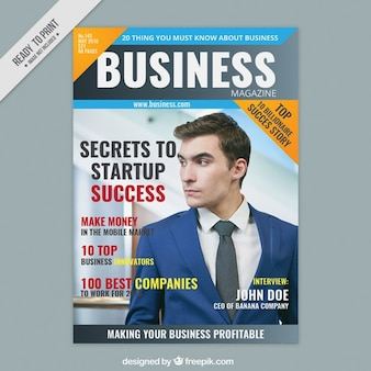 Copertina di una rivista d'affari con un imprenditore