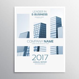 Copertina di una rivista design pulito modello di business volantino con buldings