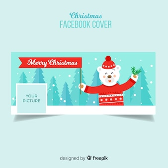 Copertina facebook di flat bear christmas