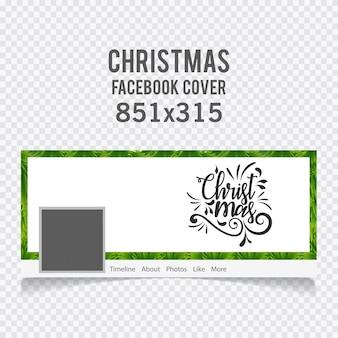 Copertina facebook di natale tra tipografia e bordo erba su sfondo bianco