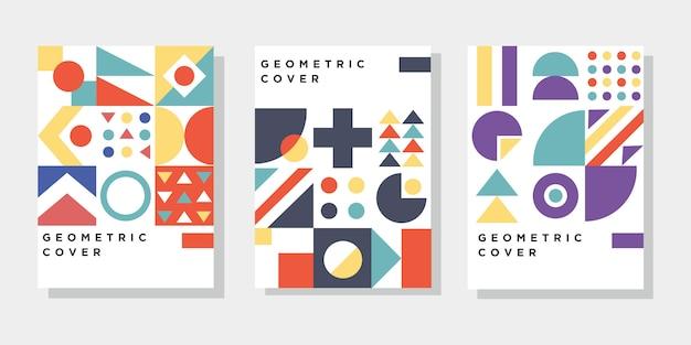 Copertina layout modello colorato con elementi bauhaus memphis
