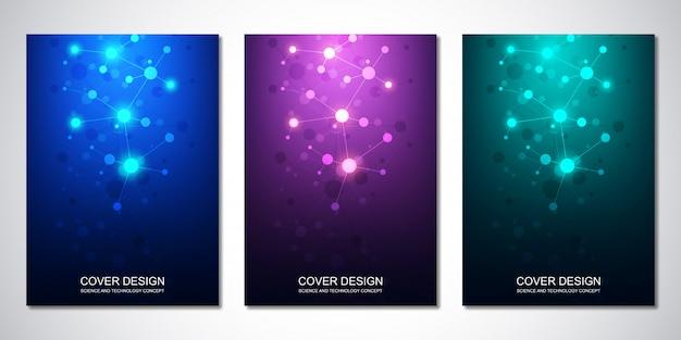 Copertina o brochure, con molecole e rete neurale