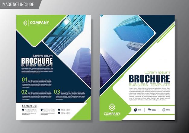 Copertina verde volantino e modello di business brochure