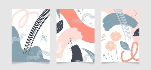Copertine di forme disegnate a mano astratte