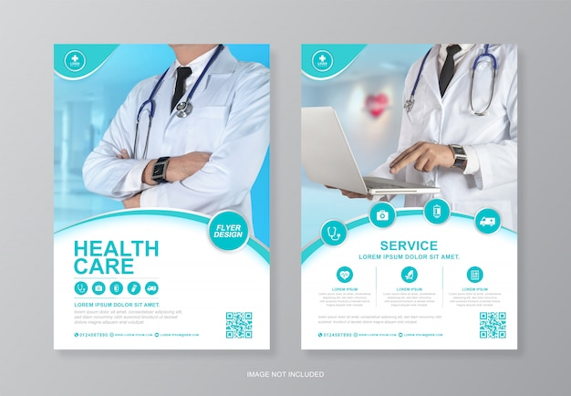 Copertura aziendale sanitaria e medica, modello di progettazione volantino pagina posteriore a4