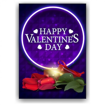 Copertura blu di san valentino con regalo e fiori