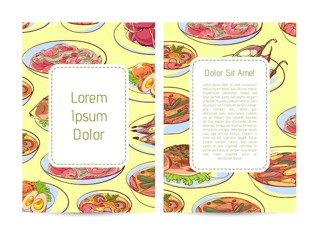 Copertura del menu del ristorante di cucina tailandese