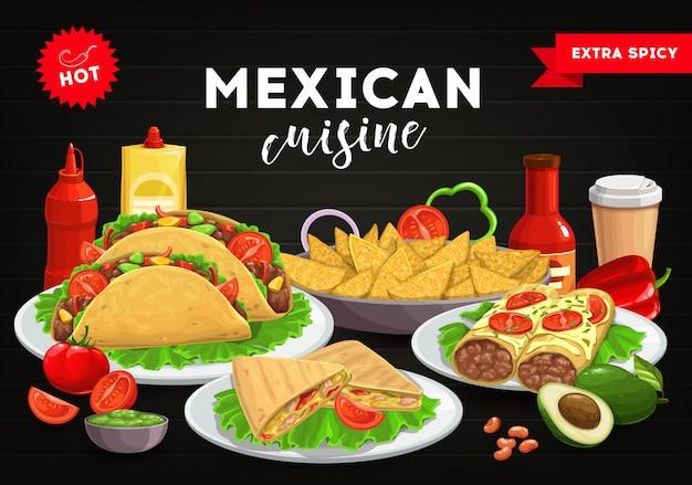 Copertura del menu di cucina messicana, tacos di cibo messicano