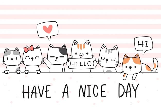 Copertura disegnata a mano adorabile sveglia della carta da parati di scarabocchio del fumetto di saluto della famiglia del gattino del gatto del bambino