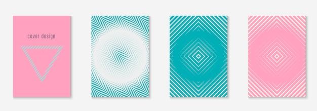 Copertura e modello di forme astratte con elementi geometrici di linea.