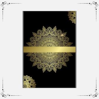 Copertura ornato di lusso mandala oro sfondo.