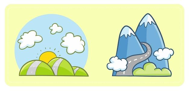 Copertura stradale di montagna e colline kawaii carina e divertente con nuvole. uno scenario urbano per la giornata mondiale dell'habitat.