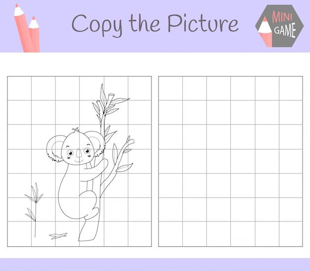 Copia l'immagine: cara kuala. libro da colorare. gioco educativo per bambini. ,