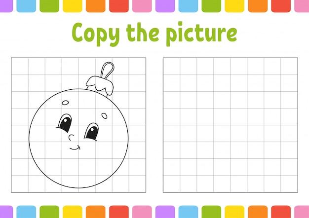 Copia l'immagine. pagine di libri da colorare per bambini. foglio di lavoro per lo sviluppo dell'istruzione. gioco per bambini. pratica della scrittura a mano.