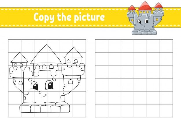 Copia l'immagine. pagine di libri da colorare per bambini. foglio di lavoro per lo sviluppo dell'istruzione.