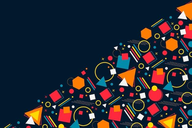 Copia spazio sfondo scuro e assortimento di forme geometriche