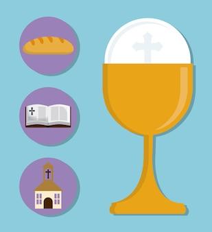 Coppa chiesa bibbia pane icona religione oro