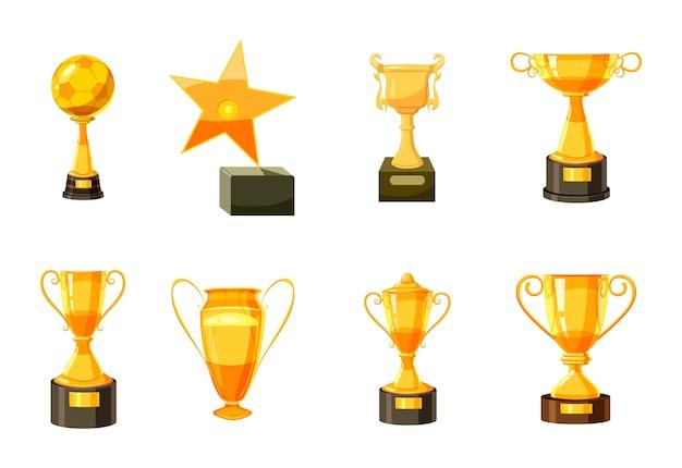 Coppa d'oro. cartone animato set di coppa d'oro