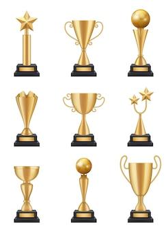 Coppa d'oro realistica. illustrazioni di conquista dei medaglie dei trofei della competizione sportiva 3d isolate