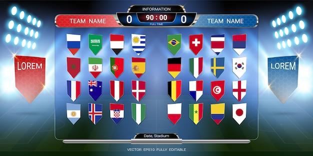 Coppa del calcio 2018 set di bandiera nazionale con tabellone segnapunti