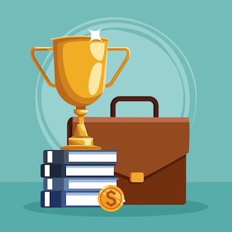 Coppa del trofeo con una pila di libri e portfolio aziendale
