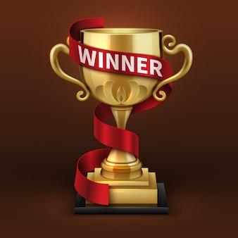 Coppa del trofeo d'oro campione con nastro rosso vincitore. concetto di vettore di campionato sportivo. calice dorato della tazza e dell'oro con l'illustrazione del vincitore del nastro