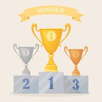 Coppa del trofeo su piedistallo. calice in oro, argento, bronzo isolato