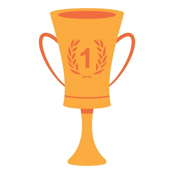 Coppa del vincitore con numero uno e corona d'alloro