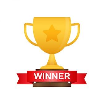 Coppa del vincitore congratulazioni. premio del trionfo. icona di vittoria. illustrazione.