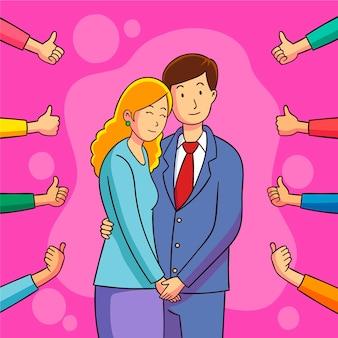 Coppia abbracciata che ottiene l'approvazione pubblica