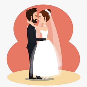 Coppia appena sposata che bacia personaggi avatar