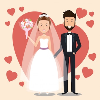 Coppia appena sposata con i cuori avatar personaggi