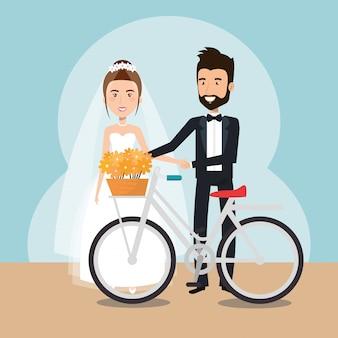 Coppia appena sposata in personaggi di avatar di biciclette