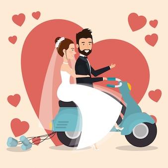 Coppia appena sposata in personaggi di avatar di moto