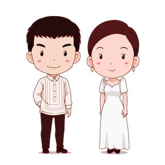 Coppia carina di personaggi dei cartoni animati in costume tradizionale delle filippine.