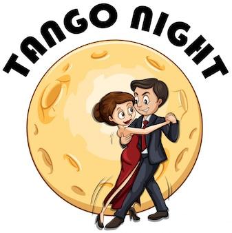 Coppia che balla in una notte di luna piena
