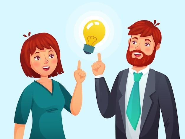 Coppia che ha idea. il marito e la moglie hanno risolto il problema, il maschio adulto e la femmina hanno risolto il problema o l'illustrazione del fumetto della lampada di idee
