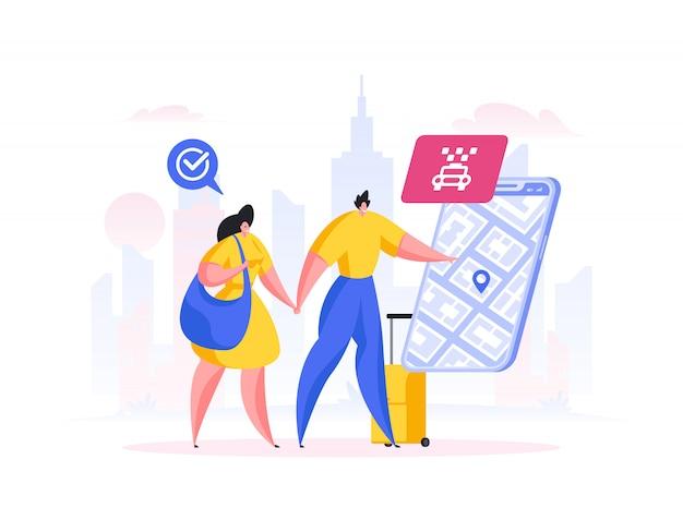 Coppia che ordina un taxi tramite l'app. illustrazione di persone dei cartoni animati