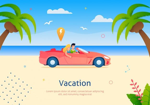 Coppia che va in vacanza su cabriolet vehicle.