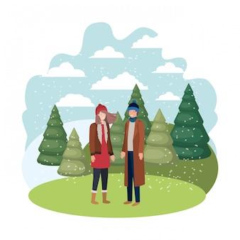 Coppia con abiti invernali e carattere avatar pino invernale