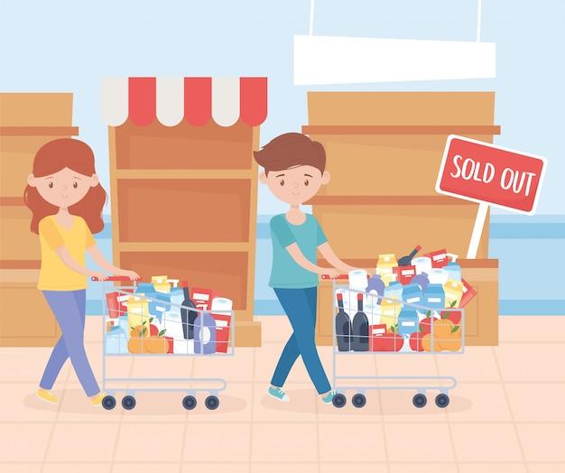 Coppia con carrello pieno di prodotti alimentari esaurito ripiani acquisto in eccesso
