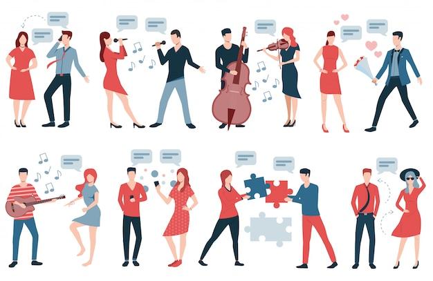 Coppia con diverse pose e tipi di interazione