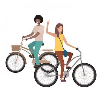 Coppia con personaggio avatar bicicletta