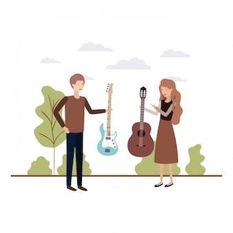 Coppia con strumenti musicali nel paesaggio