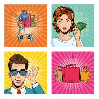 Coppia di affari con borse della spesa e icone stile pop art