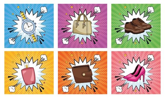 Coppia di affari con portafoglio e borsa stile pop art