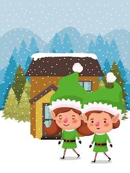 Coppia di aiutanti di babbo natale nello snowscape