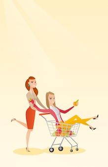 Coppia di amici a cavallo nel carrello della spesa.