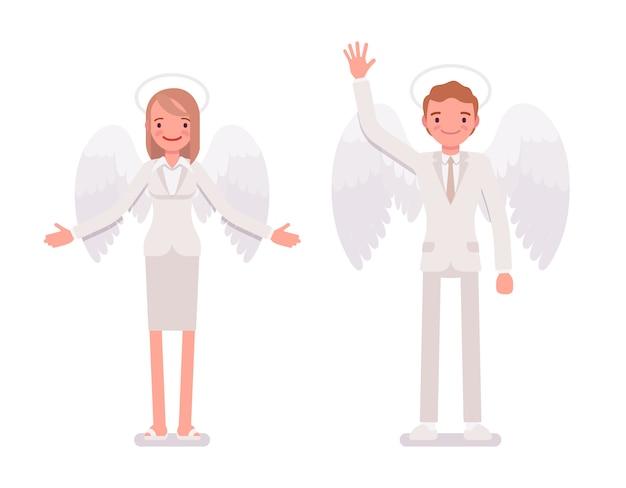Coppia di angeli, uomo e donna